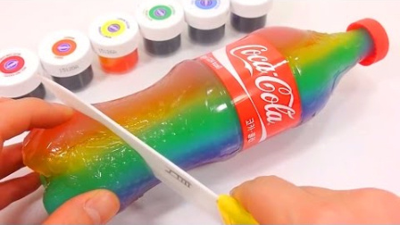 0652 - 可口可乐真彩虹布丁DIY如何使学习颜色粘液惊喜Eggs
