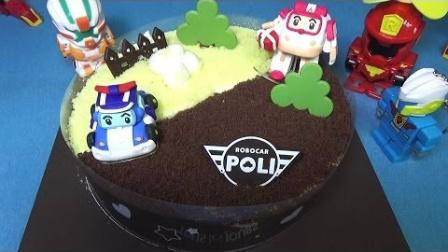 1278 - 香草多乐之日球迷ttobot点¯x玩具反斗城机器人车多聚大使馆巧克力蛋糕喷了蜡烛ROBOCAR波利饼toys