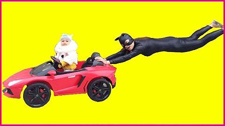艾莎公主与宝宝的超级跑车 飞猫女小丑绑架蜘蛛侠的车 204