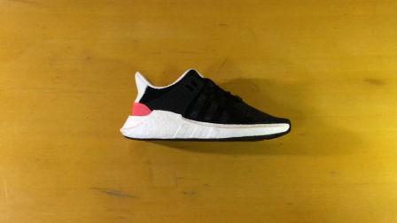 【TY潮鞋够上手评测】adidas EQT support 93/17 黑粉阿迪达斯爆米花跑鞋开箱展示