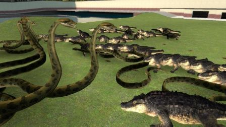 动物世界 上百条史前巨蟒VS 一大群头史前巨鳄,场面会有非常壮观