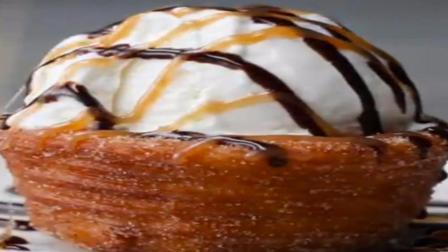 自制油炸冰淇淋碗, 这个配冰淇淋吃真的太美味了, 甜点搭配味道赞