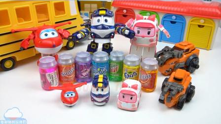 喝苏打泥 变形警车珀利 琥珀机器人火车 恐龙战士变形合体玩具 超级飞侠玩具 变形车玩具 和 如何做果冻布丁冰淇淋做法 【 俊和他的玩具们 】
