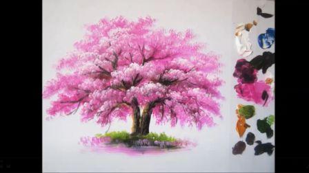 丙烯技法基础入门-樱花树
