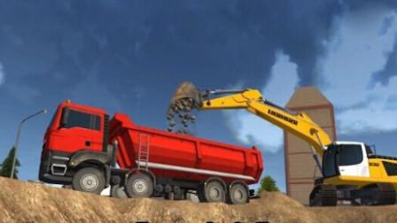 挖掘机装载大卡车 挖掘机与卡车工作视频中文版 最新工程车工作动画