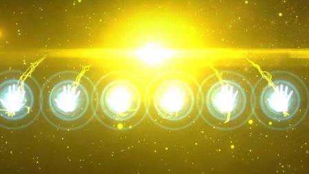 金色大门推开启动仪式手掌粒子光线条汇聚启动仪式视频宣传老王传媒
