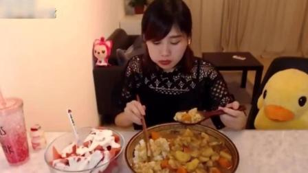 大胃王密子君穷凶极饿狂吃6斤咖喱饭+3斤酸奶西瓜秒杀光盘!