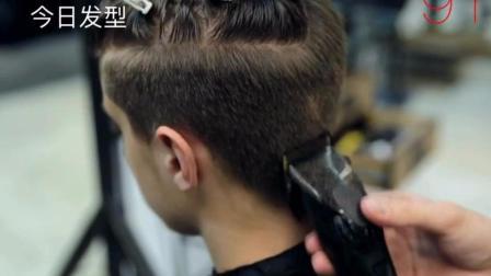 男生三面光刘海一边斜剪发技术, 很实用的一款发型!
