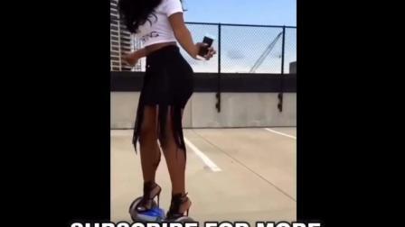爆好身材美女玩滑板, 好厉害啊