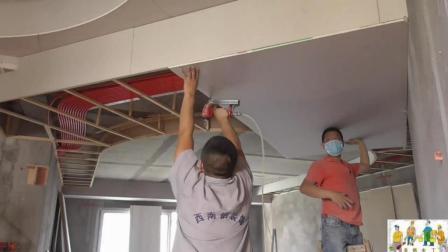 家居装修吊顶师傅做圆形吊顶90一张板子的价钱也只够做工资