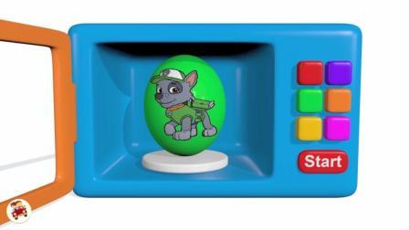 学习颜色的儿童玩具惊喜蛋、微波炉、喜糖、汽车