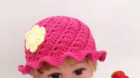 糖糖手作  (第38集)    扇形花瓣帽子  钩针编织   毛线编织视频