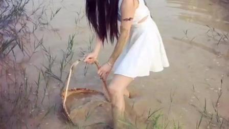 美女捉泥鳅 捉到一条蛇 吓破胆