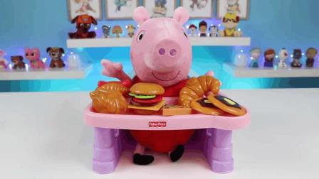 小猪佩奇大显厨艺 用微波炉制作热狗 汉堡 各种美食 厨房玩具