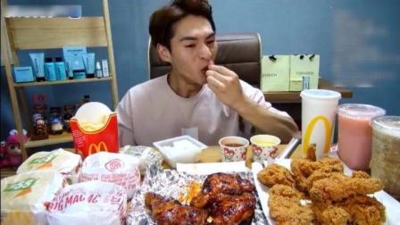 大胃王奔驰小哥吃两份炸鸡和4个汉堡, 吃完一顿直接胖6斤