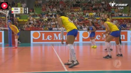 中国女排开局落后, 新秀高意王媛媛站了出来, 把巴西拦的暂停了