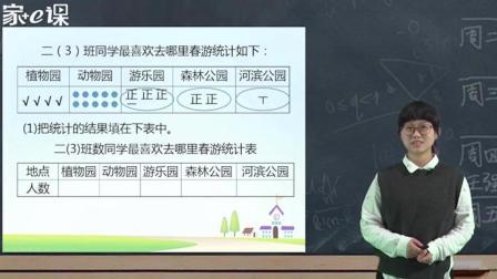 小学二年级下册数学: 一单元数据收集整理 陈怡老师 家e课