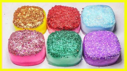 水晶粘土月饼制作视频 亲子手工闪粉玩具颜色秀 244