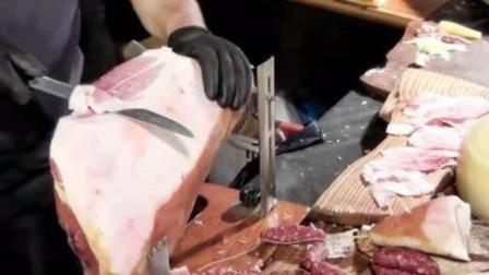 国外现场手切意大利火腿, 夹上面包直接吃, 这才是真正的火腿面包