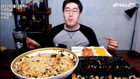 韩国大胃牛哥吃一锅泡面和紫菜包饭, 这货越来越胖了