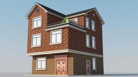 非常实用的新农村别墅设计效果图, 9米*10米2层半带户型图, 回家建房就是她了!
