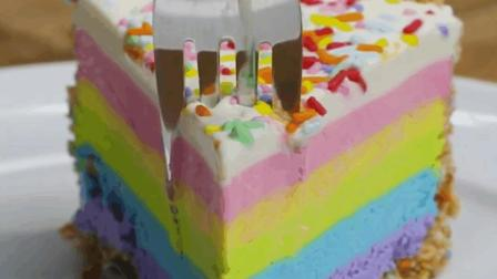 好看又美味的彩虹乳酪蛋糕, 一分钟学会