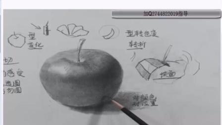 素描基础教程03苹果水滴质感完整版