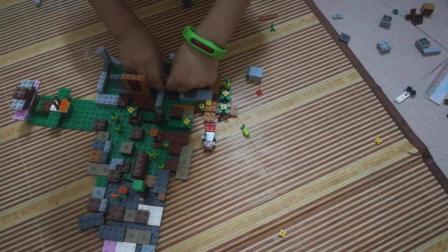 乐高积木拼装游戏 兄妹两共同搭建城池对话更有意思