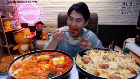 韩国大胃王奔驰小哥BANZZ吃2大盘香肠芝士意面、培根鸡蛋香肠
