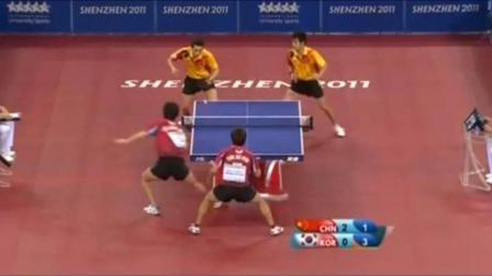 韩国大学生挑战国乒, 两个世界冠军收起让球模式, 教其做人
