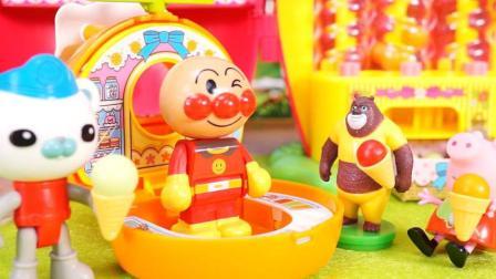 奇奇和悦悦的玩具 2017 面包超人冰激凌店熊大巴克队长小猪佩奇来光顾 161 小猪佩奇来光顾冰激凌店