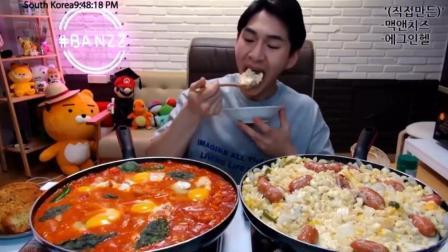 韩国大胃王奔驰小哥BANZZ吃芝士意面香肠、鸡蛋培根香肠