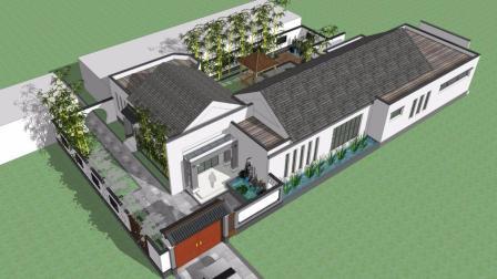 中式小院设计, 精致漂亮, 院中木亭雅座, 石阶通达, 清池绿荷