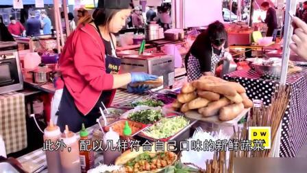 外国街边小吃鸡肉热狗, 肉多菜多还不贵, 老外们最爱