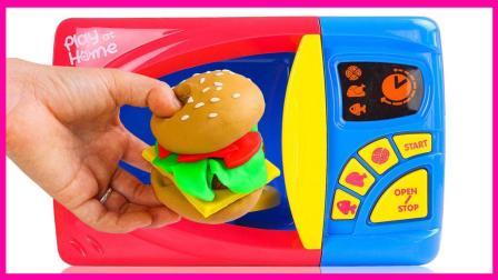 彩泥微波炉自制汉堡包 261