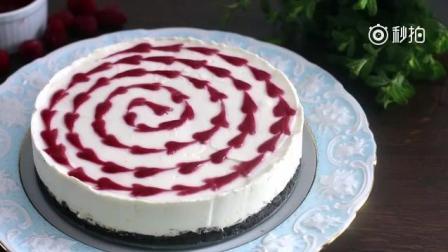 免烤白巧克力覆盆子芝士蛋糕 看着好美味~