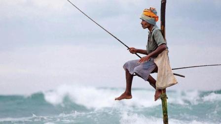 斯里兰卡传统钓鱼方式野性十足 钓鱼不用鱼饵 仅靠一根细竹竿 66