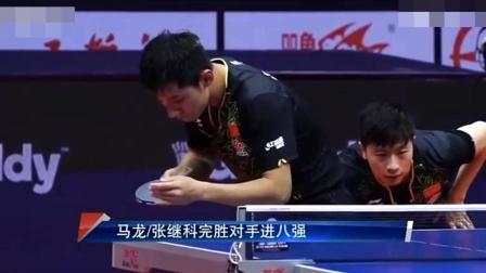 张继科退赛前最后一次采访, 打的很随意, 然而对手太弱, 还是打赢了