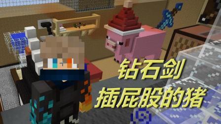 火焰解说 我的世界 1403 钻石剑插屁股的猪 单挑解密RPG空岛生存小游戏钻石大陆手游
