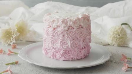 童话公主梦! 粉红玫瑰渐变色奶油蛋糕