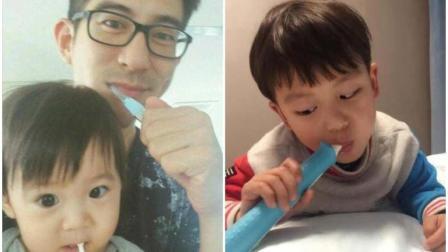 贾静雯老公教二女儿咘咘刷牙, 姿势竟被众人吐槽有问题 ?