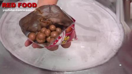 泰国巧克力球炒酸奶冰激凌, 好的材料加超快的手速, 太好吃了
