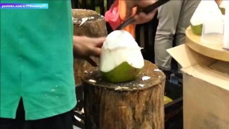大哥这口牙不错呦 - 各种切椰子的方法