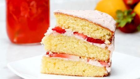 一分钟教你在家自制草莓柠檬蛋糕, 酸酸甜甜, 美味可口