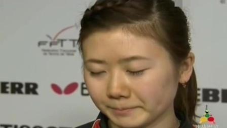 福原爱输球后, 面对记者的采访, 硬生生把眼泪憋了回去, 用东北话给自己加油