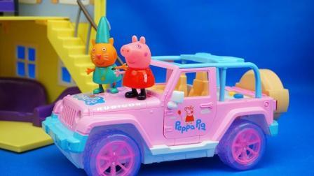 粉红猪小妹 小猪佩奇会讲故事的电动小汽车 惯性玩具车