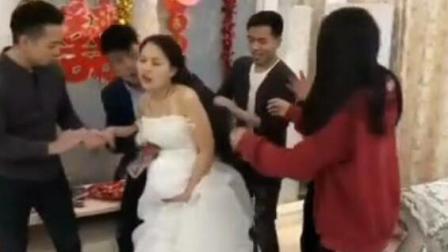 一妹子结婚时, 肚子疼要生宝宝了, 真是双喜临门啊!