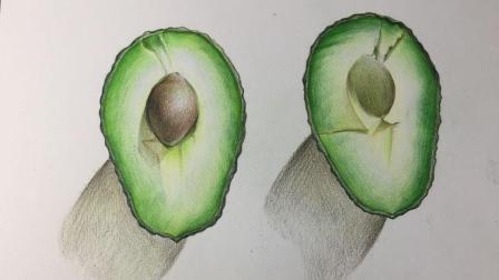 怎么把蛋型椭圆变成牛油果, 彩铅手绘过程版