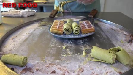 绿茶冰淇淋卷华夫饼