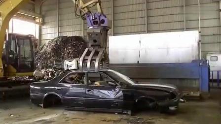 实拍粉碎机粉碎小汽车全过程, 这个看着好过瘾